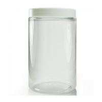 Genomskinlig burk i PET med vitt lock 400 ml