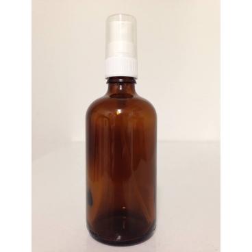 Brun glasflaska 100 ml med vit spraypump